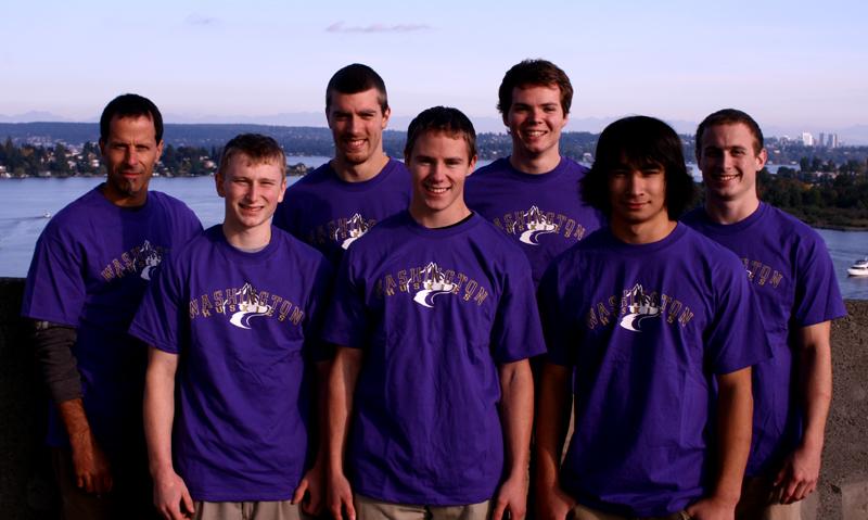 Back (left-right): Coach Mark Russo, Jon Chapman, Greg Steward, Franklin Stutevoss  Front: Peter Moser, Tim Forro, Layton Oka